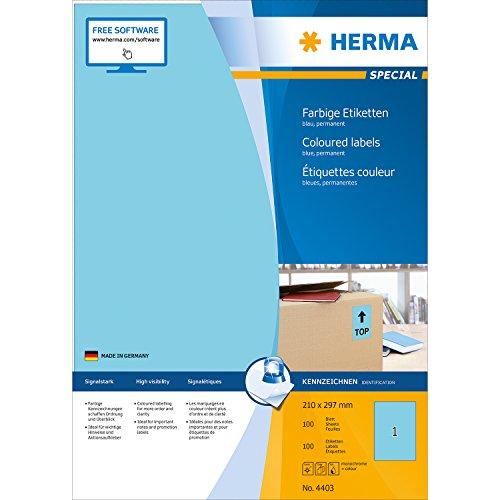 Herma 4403 Farbetiketten (210 x 297 mm, Format DIN A4, Papier matt) 100 Stück auf 100 Blatt, blau, bedruckbar, selbstklebend