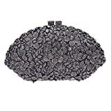 Bonjanvye Glitter Flower Ladies Hand Bags Evening Party Purses for Girl's Evening Bags Gray