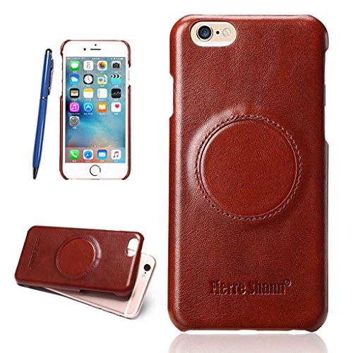 Ultra Dünn Echtem Leder Hülle für iPhone 6S/6 Plus,CareyNoce Luxus Handgefertigt Schutzhülle für Apple iPhone 6S Plus iPhone 6 Plus(5.5 Zoll) with Ring Holder -- Rot braun M01