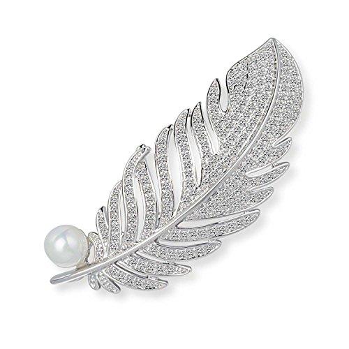 Wonvin Damen Schale Perle Brosche Pins Engel Flügel Feder 18 Karat Weiß vergoldet für Frauen (Flügel Pin)