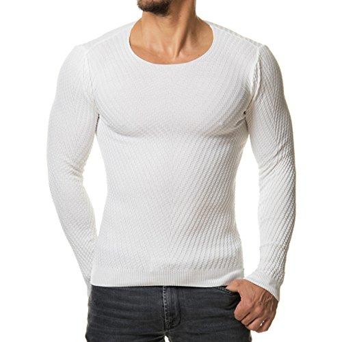 EightyFive Herren Pullover Feinstrick Rundhals Weiß Grau Schwarz EF1596 Weiß