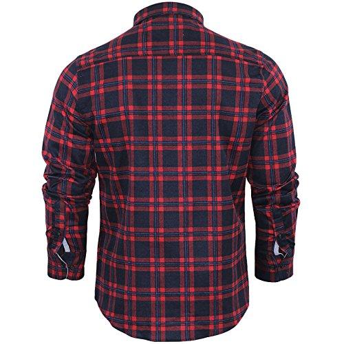 Herren Hemd von Brave Soul gebürstete Baumwolle, kariert, langärmlig Duffy Red