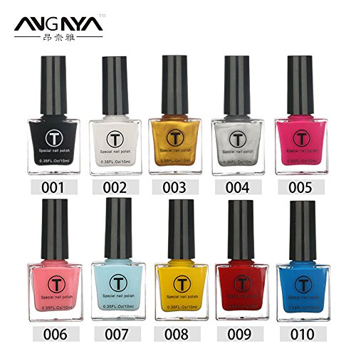 Generic Palegoldenrod : ANGNYA 10ml 20 Colors Optional UV Gel Nail Polish Liquid Stamping Nail Varnish Manicure Lacquer Nail Art Single Bottle