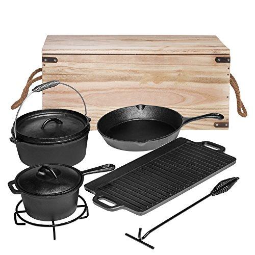 bruntmor Hänge 7Stück Heavy Duty Gusseisen Dutch Oven Camping Kochen Set mit Vintage Durchführung Aufbewahrungsbox Sauce Pan Set