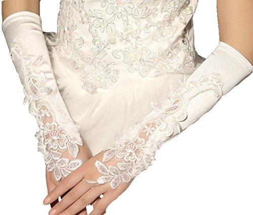 Hochzeit Braut Handschuh (Brauthandschuhe fingerlos Braut Handschuhe Perlen Pailletten Hochzeit Weiß Ivory Stulpen Brautstulpen Hochzeitsstulpen (Ivory))