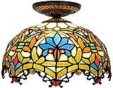 WTTWW Lampada da Soffitto 12 Pollici Perline d'Amore Europeo Tiffany Lampadario in Vetro Colorato Ristorante Camera da Letto Corridoio Corridoio Bagno Lampada da Soffitto in Vetro,30CM