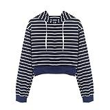 BHYDRY Art- und Weisefrauen-Langes Hülsen-T-Shirt Gestreifter Hoodie-zufällige Oberseiten-Bluse (S,Marine)