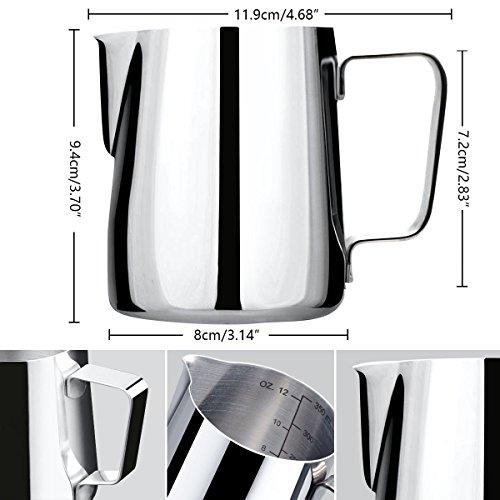 ONEHOUS Milchkännchen Edelstahl 350ml, Milk Jug, Milchaufschäumer Perfekte Größe für 2 Cappuccino Tassen, Barista Stift für Latte Art, Einfach zu Reinigen, Silber - 3