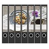 7 x Akten-Ordner Etiketten/Design Aufkleber/Rücken Sticker/Frühstück, Bistro, Restaurant, Rezepte/für schmale Ordner/Ordnerrücken selbstklebend / 3,7 cm schmal, dünn