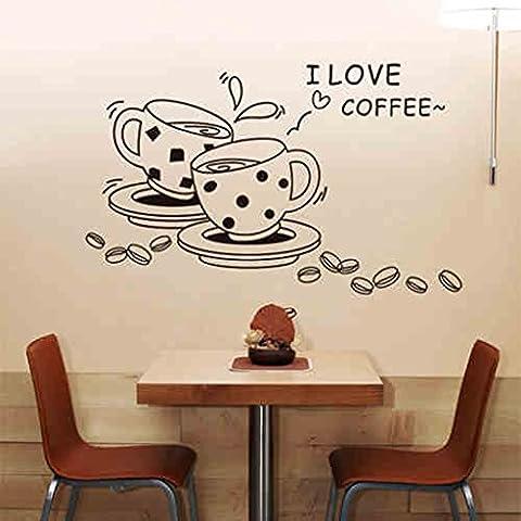 decorazione moda negozio Ristorante parete adesivo rimovibile adesivi murali cucina di casa Tazza di (Personalizzati Tazza Di Caffè)