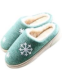 JACKSHIBO Damen Herren Plüsch Baumwolle Pantoffeln Weiche Leicht Wärme  Hausschuhe Rutschfeste… 70250f4998