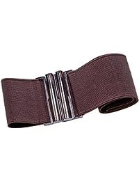 Brauner Stretchgürtel 6 cm breit silberfarbene Schnalle elastischer Taillengürtel verschiedene Grössen