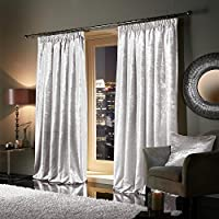"""Viceroybedding Pair of Heavy Crushed Velvet Curtains PENCIL PLEAT TAPE TOP Ready Made Fully Lined Curtains Snow White 66"""" Width x 90"""" Depth"""