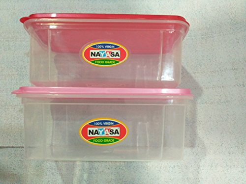 Nayasa Superplast Plastic Bread Box Small 2 Litre, Set of 2, Red, Pink