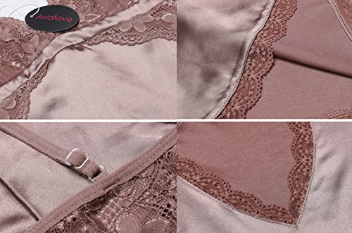 Avidlove Sexy Dessous Set Damen Lingerie Reizwäsche Negligee Unterwäsche Babydoll Bustier BH Nachthemd C2-Kaffee