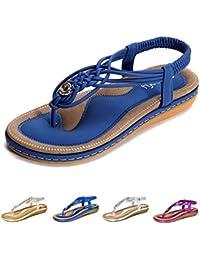 206c8b998e0 gracosy Sandalias Planas Verano Mujer Estilo Bohemia Zapatos de Dedo  Sandalias Talla Grande Cinta Elástica Casuales de Playa Chanclas…