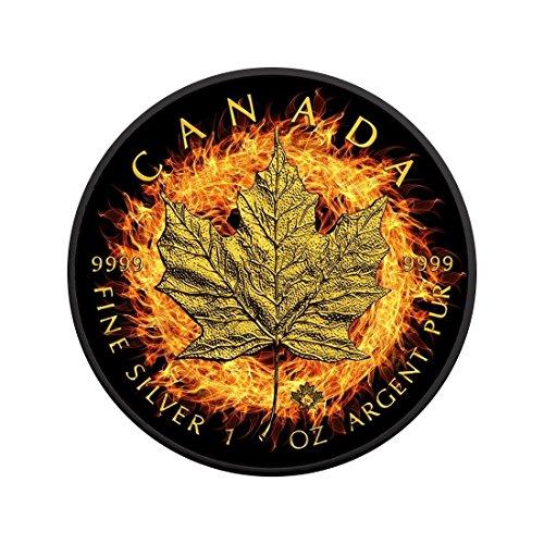 Silber Kanada Leaf Maple (Brennen Maple Leaf C $ 5 1 Unze Silbermünze, Ruthenium und Gold überzogen - Kanada 2016)