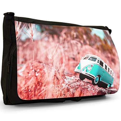 Camper Van Scene–Borsa Tracolla Tela Nera Grande Scuola/Borsa Per Laptop Turquoise Camper Van Scene