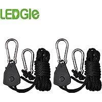 Ledgle - Cuerda de suspensión para iluminación (1 par, 0,32 cm, con engranaje interior metálico mejorado, 182,8 cm de largo, hasta 68 kg, cartucho de bloqueo, totalmente resistente a la corrosión para suspender focos, accesorios y muchos más objetos)