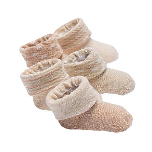 Babysocken Auxma 5 Pairs Baby Kleinkind Jungen Mädchen Kinder Weiche Baumwolle Socken Winter Warme Bunte Socken für 0-6 6-12 12-24 Monate(zufälliger Stil) (M/12-24 M)