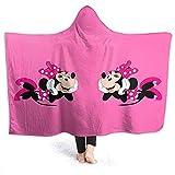 Jasmin-Shop Kapuze Decke Happy Minnie Mouse Print Superweiche Flanell Sherpa Plüsch Fleece tragbare Decke -50 'x 40'