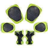 KUYOU Kinder Knieschoner Set 6 in 1 Kit Schutzausrüstung Knie Ellbogenschützer (Grün)