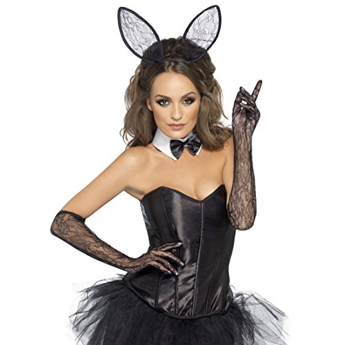Bunny Kostüm Set Hasenohren, Fliege und Handschuhe Damen Hasenkostüm Häschen Tierkostüm Playboy Bunnyset Hase (Kostüm Handschuhe Bunny)