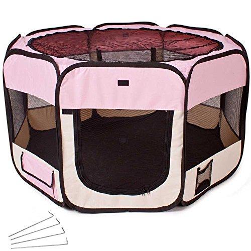 BAKAJI Box Recinto Tenda Pop-UP per Cagnolini Cuccioli e Piccoli Animali, Cuccia Pieghevole Salvaspazio da Viaggio, Recinzione per Animali di Piccola Taglia, per Interno ed Esterno (Rosa)