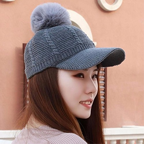 RangYR Sombrero De Mujer Sra. Cap Otoño E Invierno Punto Sombrero Gorra  Domo Boina Otoño E Invierno Gris 898ecbf497a