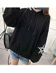 Oto?o de Las Mujeres 's Suéter con Capucha Modelo de Estrella de Impresión de Manga Suelta de Manga Superior Europa Y Los Estados Unidos de Ventas de Alta,Negro,L