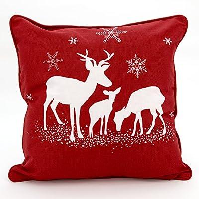 Adam Linens 100% Cotton Printed Christmas Festive XMAS Design Cushion Cover Three Deer Red - low-cost UK light shop.