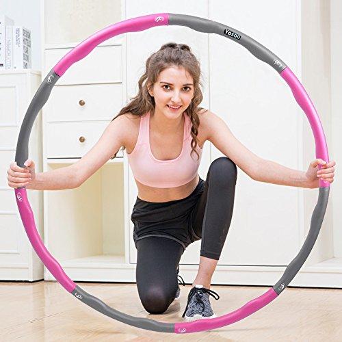 Hula Hoop,Hula Band Schaum Schaum Hula Band Hula Band Reihe für Gewicht Verlust für Sport und Eignung entfernbarer Durchmesser 96cm (Rosa + Grau)