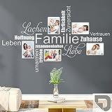 DESIGNSCAPE® Wandtattoo Fotorahmen Wortwolke Familie | Wandtattoo für Fotos mit Wortwolke 135 x 84 cm (Breite x Höhe) grau DW807376-L-F6