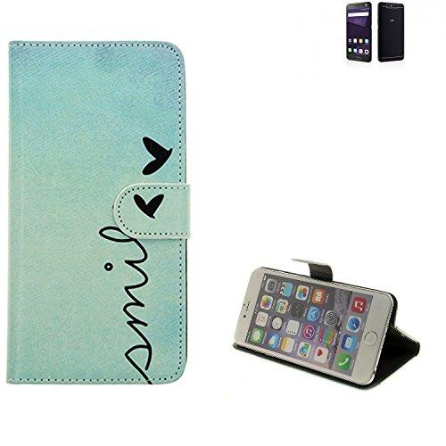 K-S-Trade® Für ZTE Blade V8 64 GB Hülle Wallet Case Schutzhülle Flip Cover Tasche Bookstyle Etui Handyhülle ''Smile'' Türkis Standfunktion Kameraschutz (1Stk)