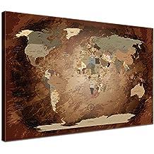 LanaKK Mapamundi con corcho para fijar los destinos - Mapa del mundo intensivo, inglés, lámina sobre bastidor camilla en marrón, enmarcado en una parte de 100 x 70 cm
