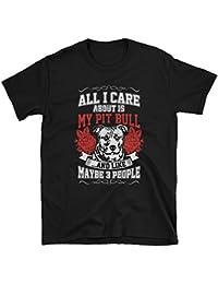 Mens T-shirt Pitbull Dog All I Care is Pit Bulls 100% Cotton Perfect