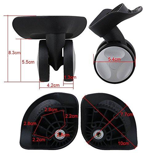 glvanc, schwarz 8.3x 10x 5.4cm links & rechts Kunststoff Lenkrolle Räder Ersatz DIY für Gepäck Koffer Trolley W/8Schrauben, 2Stück (Gepäck-spinner-räder)