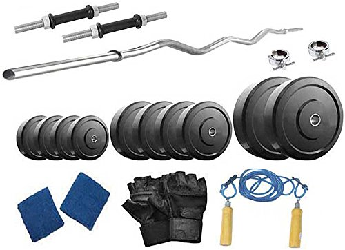 Active Fitness Weight Lifting Package 22 Kgs + 3' Curl Rod (Black)
