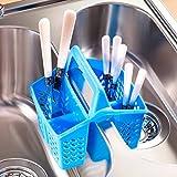 Besteck-Korb , Blau, platzsparende Halterung für Besteck im Spülbecken, der Ablage oder der Spülmaschine