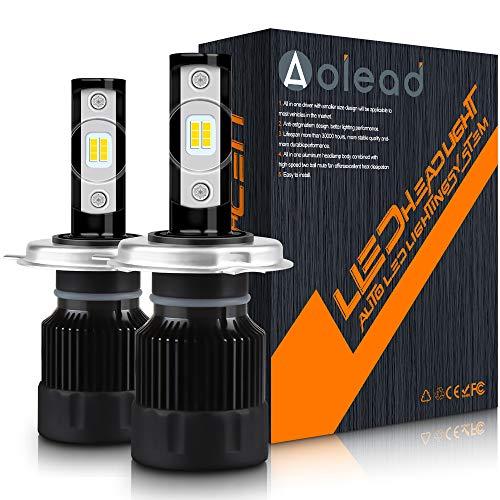 Aolead Lampadine H4 LED 10000LM Super luminoso Sostituzione Lampade per Alogena e Xenon Luci, 50W 6000K 2 lam