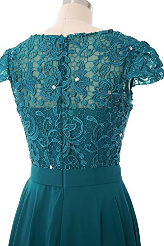 MACloth Women Cap Sleeve Mother of Bride Dress Vintage Lace Evening Formal Gown Burgunderrot