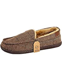 2bdcc3dcf Jo & Joe Mens Faux Suede Luxury Fleecy Lined Slip On Tweed Moccasin Slippers  Shoes Size
