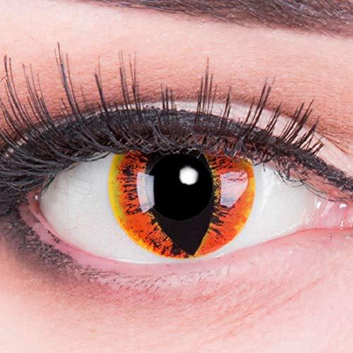 bige gelbe orange Crazy Drachenaugen Dragon Eyes Manticor Jahres Kontaktlinsen Perfekt zu Halloween, Karneval, Fasching oder Fasnacht mit gratis Kontaktlinsenbehälter ohne Stärke ()