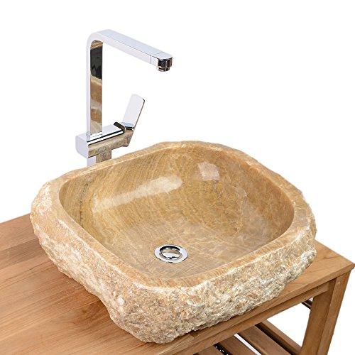 WOHNFREUDEN Onyx Steinwaschbecken 50x46x15 cm oval Marmor Waschbecken Bad Gäste WC
