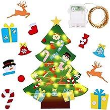 Gudotra Kit Árbol de Navidad Fieltro Pared Puerta+30 Adornos Desmontables + Cadena de Luces