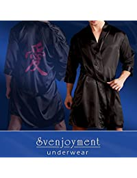 Svenjoyment Kimono pour Homme en Satin Noir avec Sign Chinois Taille L/XL
