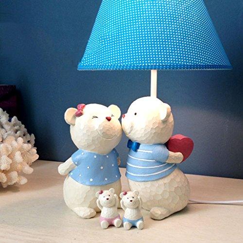 Juli Tischlampe Harz Lampe einstellbar Licht Stoff Schatten Schlafzimmer Nachttischlampe niedlichen Bart Bär Tischlampe (Farbe : Blue+Piggy Bank) -