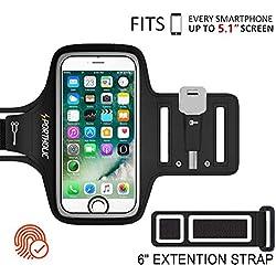 PORTHOLIC Universel Brassard de Sport Pour iPhone 8/6/6s/7/5/5C,Samsung Galaxy S7/S6/S5 Jusqu'à 5.1 Pouces -Avec Sangle Ajustable- Anti-Sueur Armband Avec Porte-Clés&Cartes,Attache pour Câble-Touch ID
