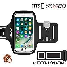PORTHOLIC® Brazalete deportivo Para Deportes Fitness Con soporte para llaves,cables y tarjetas para iPhone 8/7/6/6S/5S/5C/SE/5,Samsung Galaxy S7/S6/S5 Edge,Huawei,Bq x5,HTC,LG hasta 5.1 pulgadas (negro+)