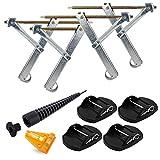 Ausdrehstützen 4 Stück + Akkuschrauberaufsatz 13/19 mm + ProPlus 4er Set Stützplatten + Kreuzwasserwaage für Wohnwagen